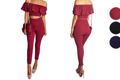 Marcus Emporium - Crop Top Bardot 2 Piece Jumpsuit Choose 3 Colours & Sizes - Save 71%