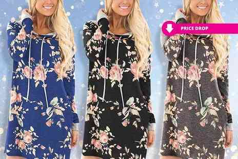 Boni Caro - Floral hoody dress choose from three colours - Save 89%