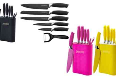 Groupon Goods Global GmbH - Six Piece Royalty Line Switzerland Non Stick Knife Set with Stand in Choice of Colour - Save 83%