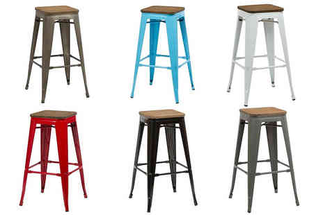 Panoply Furnishings - Two stackable bar stools or choose from six colours - Save 50%
