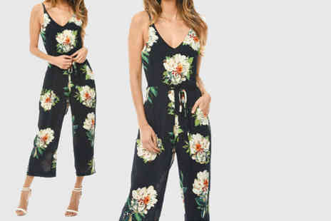 Verso Fashion - Floral print navy jumpsuit - Save 67%