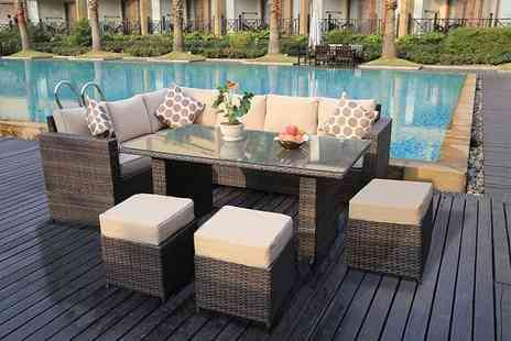Dreams Outdoors - Nine seater rattan outdoor dining sofa set or rattan set with rain cover, choose from three colours - Save 52%