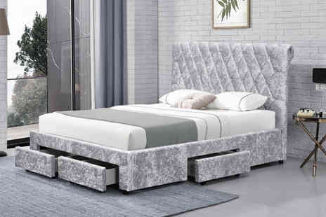 Envisage Home - Crushed velvet bed, choose from two styles in two sizes, with an optional mattress - Save 71%