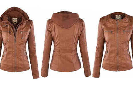 Blu Apparel - Womens Faux Leather Look Hooded Jacket Choose 3 Colours - Save 42%