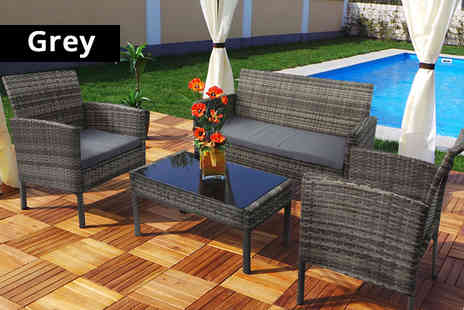 Viron Motors - Four piece rattan garden set choose from three colours - Save 75%