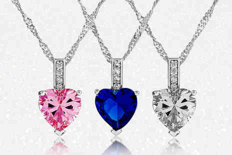 GameChanger Associates - Beautiful heart cut zircon pendant select from three colours - Save 87%