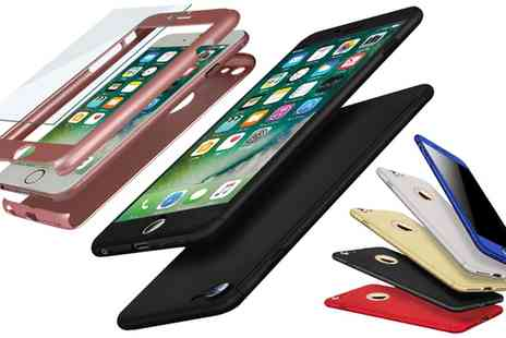 Groupon Goods Global GmbH - Hybrid Shockproof Case for iPhone with Tempered Glass Cover - Save 0%