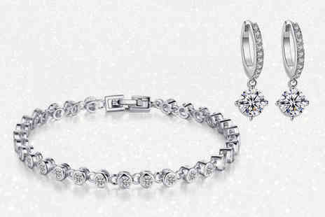 GameChanger Associates - Swarowski crystal bracelet & hoop earrings - Save 84%