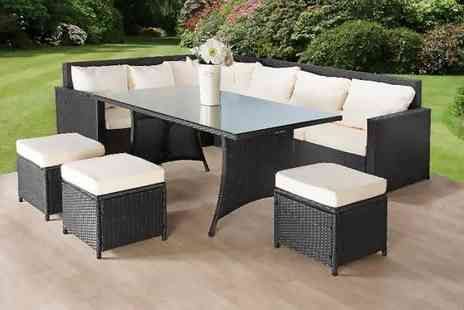 Giomani Designs - Nine seater rattan corner sofa & stool dining set - Save 69%