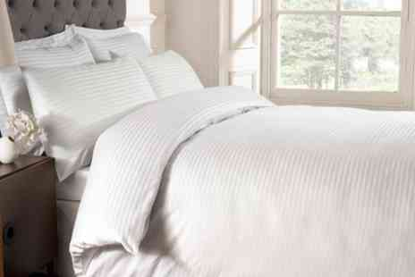 Groupon Goods Global GmbH - Rapport Home 250TC Hotel Satin Stripe Duvet Cover Set or Sheet - Save 45%
