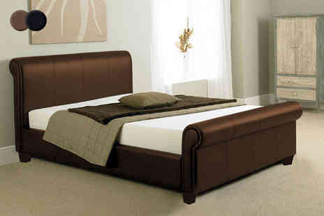 Giomani Designs - Tuscany faux leather sleigh bed frame or include a mattress - Save 81%
