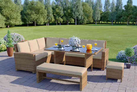 Abreo - 10 seater rattan corner set choose from five colours - Save 66%
