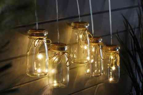 Groupon Goods Global GmbH - Set of Five Glass Mason Jar Solar Led String Lights - Save 50%