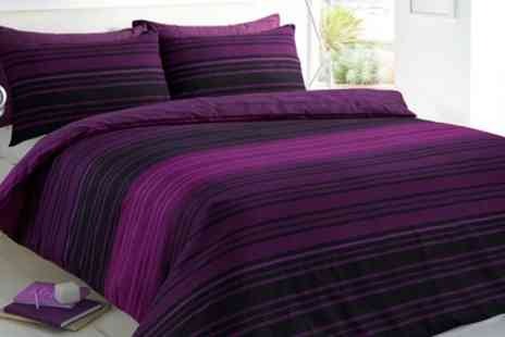 Groupon Goods Global GmbH - Pieridae Textured Stripe Duvet Cover Set in Choice of Colour and Size - Save 74%