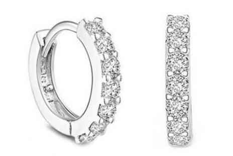 Groupon Goods Global GmbH - One or Two Pairs of Sterling Silver Plated Hoop Earrings with Crystal Elements - Save 91%