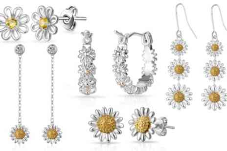 Groupon Goods Global GmbH - One or Two Pairs of Philip Jones Daisy Earrings or Hoops - Save 88%