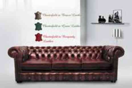 Leather Fabric Sofas - Three seater luxury leather Chesterfield sofa in a choice of green, brown or burgundy - Save 78%