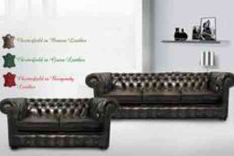 Leather Fabric Sofas - Two seater and three-seater luxury leather Chesterfield sofa set in a choice of brown, green or burgundy - Save 82%