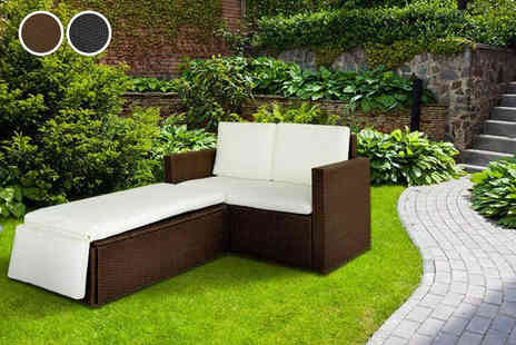 Evre - Rattan garden love bed set choose from 2 colours - Save 72%