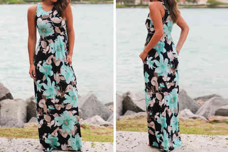 Anarchy - Sleeveless floral print maxi dress - Save 77%