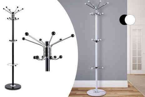Zoozio - Modern 16 hook metal coat and hat stand with a marble base - Save 0%