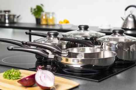Groupon Goods Global GmbH - Morphy Richards 5 Piece Stainless Steel Pan Set - Save 72%