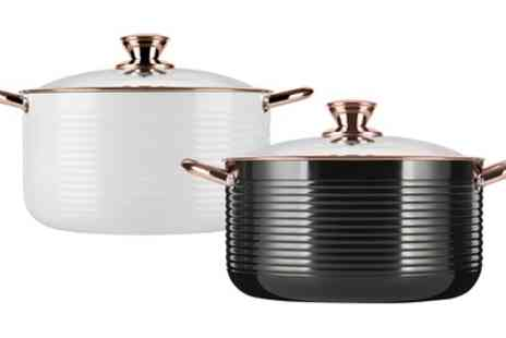 Groupon Goods Global GmbH - Tower Linear Casserole Dish with Easy Clean Non Stick Ceramic Coating in Black or Rose Gold or White or Rose Gold - Save 50%