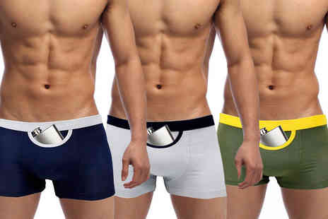 Boni Caro - Pack of two mens secret pocket boxers choose from two colours - Save 67%