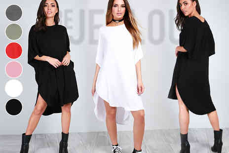 Be Jealous - Oversized batwing sleeve t shirt dress - Save 62%