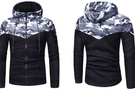 Blu Apparel - Mens Full Zip Camo Hoodie Available in 2 Colours - Save 51%
