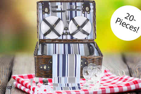 XS Stock - 20 Piece Willow Picnic Basket Choose 2 Colours - Save 64%