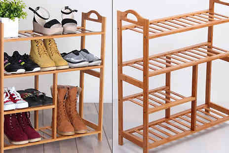 Funky Buys - Four Tier Natural Bamboo Shoe Rack & Organiser - Save 63%