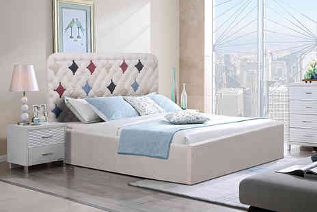 FTA Furnishing - Cream suede Ottoman storage bed - Save 80%