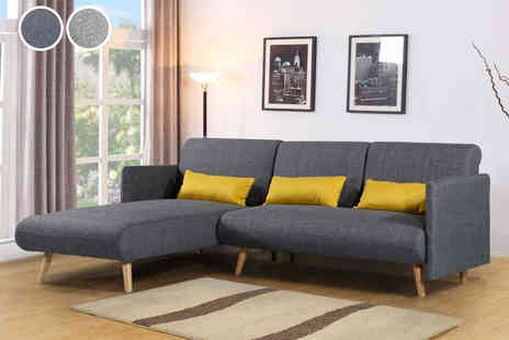 Sale Beds - Los Angeles charcoal grey corner sofa bed and chaise - Save 50%