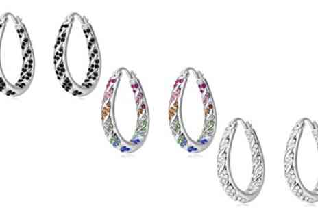 Groupon Goods Global GmbH - One, Two or Three Pairs of Inside Out Hoop Earrings with Crystals - Save 86%