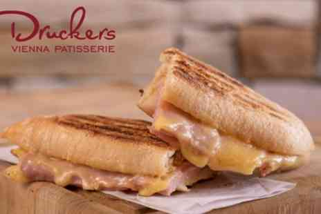 Druckers Vienna Patisserie - Ciabatta, Slice of Gateau and Hot Drink for Up to Four - Save 41%