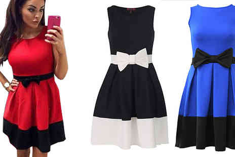 Marcus Emporium - Bow Two Tone Dress Available in 3 Colours - Save 74%