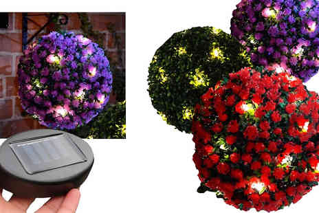 Fusion - 20 Led Solar Powered Hanging Rose Topiary Ball Available In 3 Colours - Save 67%