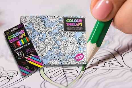 London Exchain Store - Adult colouring therapy book and pencils - Save 73%