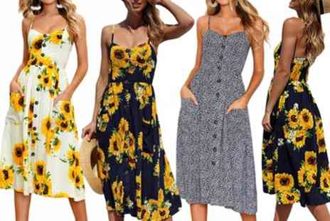 Groupon Goods Global GmbH - Floral Print Spaghetti Strap Dress - Save 0%