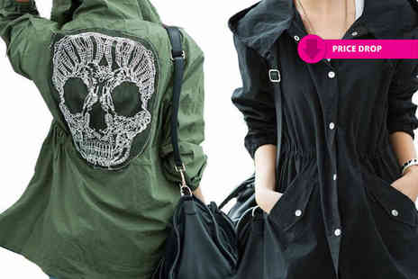 Boni Caro - Womens skull detail parka jacket - Save 90%
