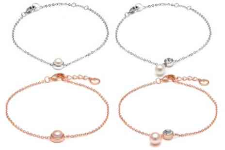Groupon Goods Global GmbH - One or Two Womens Anklets with Freshwater Pearl, with Freshwater Pearl and Crystal From Swarovski or Both - Save 83%