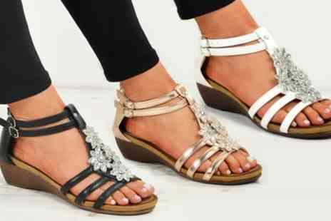 Groupon Goods Global GmbH - Womens Floral Wedge Sandals in Choice of Colour - Save 0%