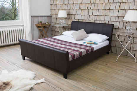 Giomani Designs - Double or king size faux leather sleigh bed - Save 81%