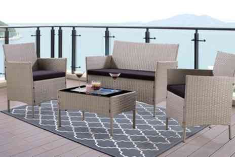 Groupon Goods Global GmbH - Four Piece Rattan Effect Garden Furniture Set with Optional Cover With Free Delivery - Save 82%