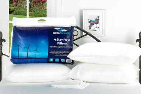Groupon Goods Global GmbH - Four Better Dreams Stay Fresh Pillows with Protectors - Save 60%