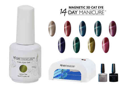 14 Day Manicure - Cats Eye gel nail kit with UV lamp and two colours - Save 79%