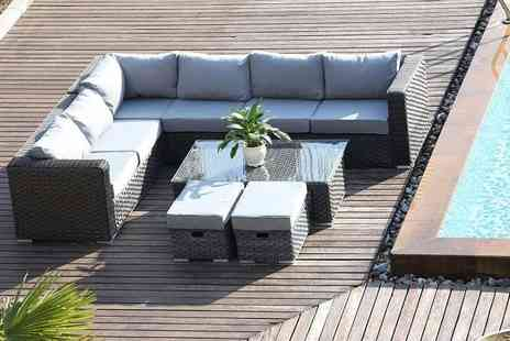 Dreams Living - Eight seater L shaped rattan furniture set with a coffee table - Save 47%