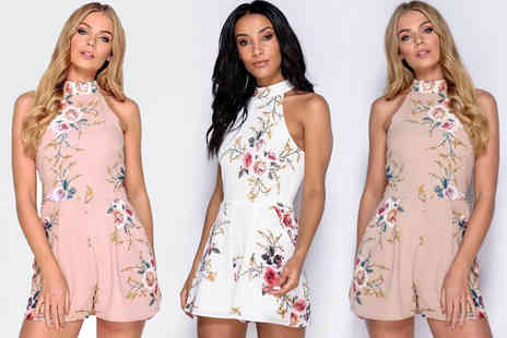 Blufish - High neck floral mini playsuit choose between three colours - Save 70%