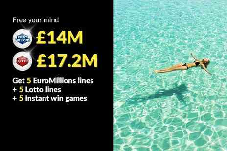 Hatchster - Five syndicated EuroMillions lines and five Lottery lines, plus five instant win games with chances for an up to £7k win - Save 50%